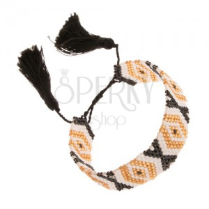 Nastavitelný náramek, korálky, zlatá, bílá a černá barva, vzor - kosočtverce