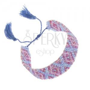 Náramek s indiánským motivem, blýskavé korálky, modrá a fialová barva