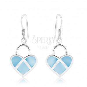 Stříbrné 925 náušnice, symetrické srdce, modrá perleť, stříbrné linie