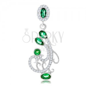 Stříbrný přívěsek 925, ornament zdobený čirými a zelenými zirkony