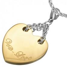 Dvoubarevný ocelový přívěsek - srdce s nápisem Vow Love