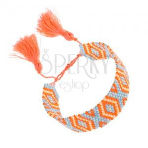 Korálkový náramek, oranžová, modrá, žlutá barva, vzor Indiánů, kosočtverce