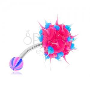 Piercing do břicha z oceli 316L, neonově růžový silikonový ježek, modré tečky
