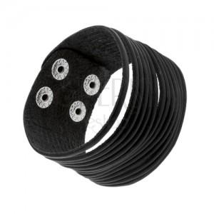 Černý kožený náramek, tenké rozdělené proužky, lesklé nýty stříbrné barvy