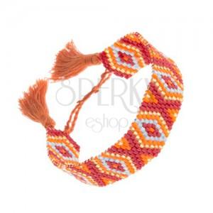 Korálkový náramek - bordó, zlatý, oranžový a modrý odstín, kosočtverce