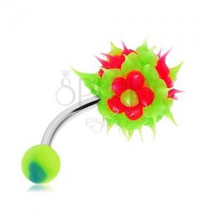 Ocelový piercing do pupíku, zelená střapatá kulička ze silikonu, růžové květy
