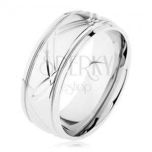 Prsten z chirurgické oceli stříbrné barvy, šikmé a vodorovné rýhy
