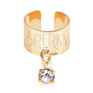 Ocelový fake piercing do ucha, zlatá barva, visící čirý zirkonek