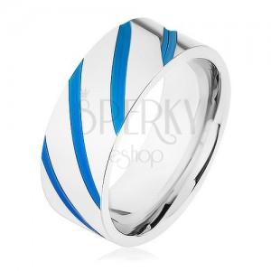 Ocelový prsten stříbrné barvy, diagonální pásy, modrá glazura