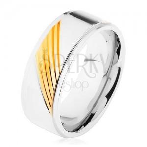 Dvoubarevný prsten z chirurgické oceli, šikmé gravírované proužky