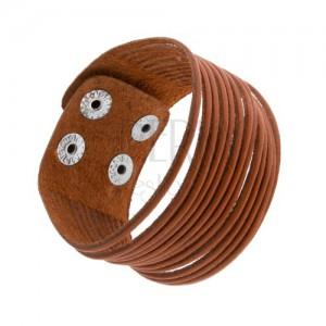 Karamelově hnědý kožený náramek, oddělené proužky, lesklé ocelové nýty
