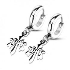 Kruhové náušnice stříbrné barvy, chirurgická ocel, přívěsek Fleur de Lis U26.02