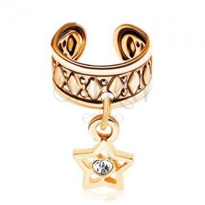 Falešný piercing do ucha z chirurgické oceli, povrch zlaté barvy, hvězdička
