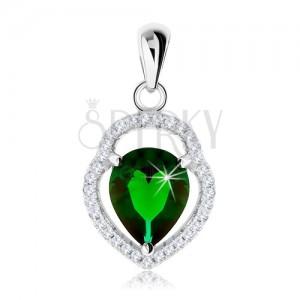 Stříbrný 925 přívěsek, nesouměrný obrys slzy, zelená zirkonová slza