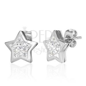 Ocelové náušnice stříbrné barvy, hvězda zdobená čirými zirkony