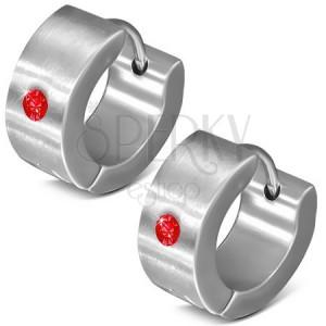 Kruhové kloubové náušnice z oceli 316L, zrcadlový lesk, červený zirkonek