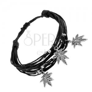 Šňůrkový náramek černé barvy, ocelové kuličky a přívěsky - listy marihuany