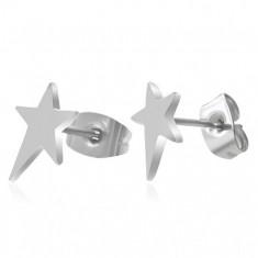 Náušnice, chirurgická ocel, asymetrická hvězda, vysoký lesk, puzetky U26.07
