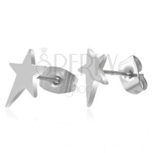 Náušnice, chirurgická ocel, asymetrická hvězda, vysoký lesk, puzetky