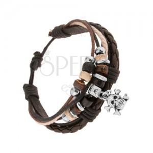 Pletený náramek, kožený pásek, vícebarevné šňůrky, ozdoby, lebka