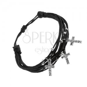 Nastavitelný náramek, svazek černých šňůrek, ocelové kuličky a křížky