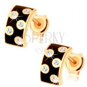 Náušnice ve žlutém 14K zlatě - širší půlkruh s glazurou černé barvy, čiré zirkony