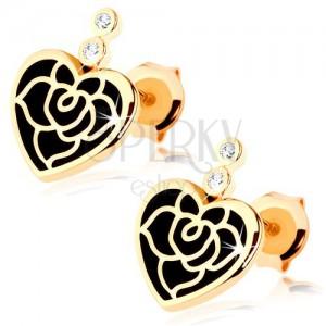 Náušnice ve žlutém 14K zlatě - pravidelné srdce s černou glazurou, růže, zirkony
