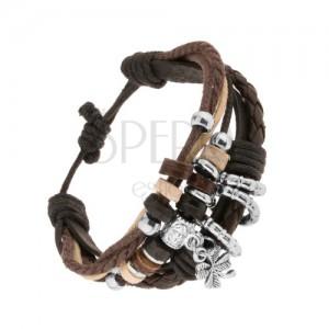 Multináramek z kožených pásů a šňůrek, ozdoby ze dřeva a oceli, čtyřlístek