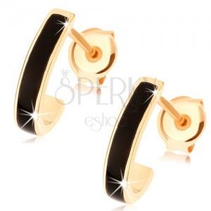 Zlaté náušnice 585 - lesklý asymetrický oblouk, proužek černé glazury