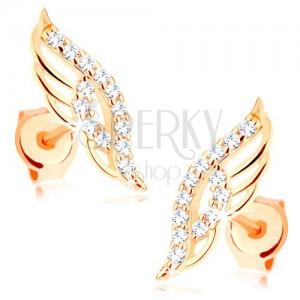 Náušnice ve žlutém 14K zlatě - blýskavé andělské křídlo zdobené čirými zirkonky