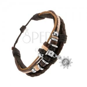 Nastavitelný náramek, kůže a šňůrky, ozdobné kroužky, patinované sluníčko