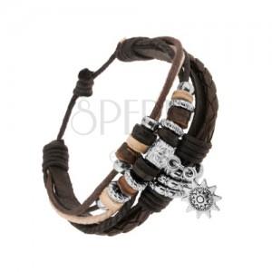 Multináramek - kožené pásky a šňůrky, ocelové a dřevěné korálky, slunce