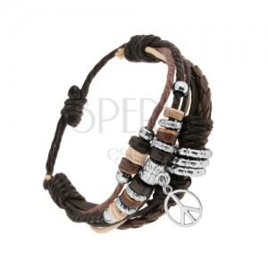 Nastavitelný náramek z kůže a motouzků, korálky z oceli a dřeva, symbol míru