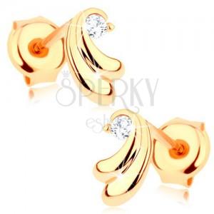 Náušnice ze žlutého zlata 585 - dvojice malých oblouků, čirý zirkonek