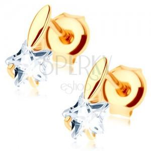 Zlaté náušnice 585 - malé vypouklé zrnko, čirá zirkonová hvězdička