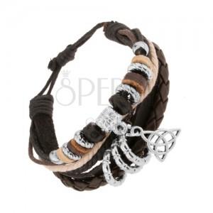 Náramek z kožených pásů a šňůrek, korálky ze dřeva a oceli, keltský uzel