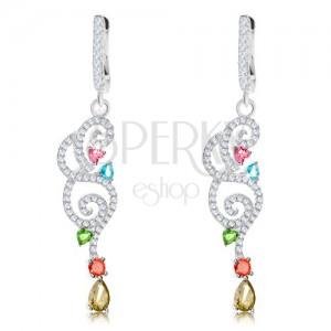 Stříbrné 925 náušnice, třpytivé ornamenty, různobarevné zirkonky