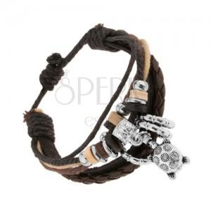 Náramek z kůže a šňůrek, nastavitelný, ocelové a dřevěné korálky, želva
