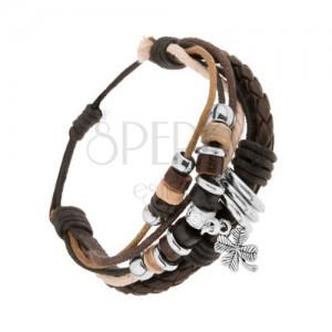 Nastavitelný náramek, kožené pásy a barevné šňůrky, korálky, čtyřlístek