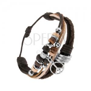 Náramek z kožených pásů a šňůrek, korálky z oceli a dřeva, symbol míru