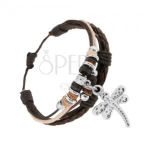 Náramek z kůže a šňůrek, nastavitelný, ocelové a dřevěné korálky, vážka