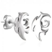 Náušnice, chirurgická ocel, tribal motiv, stříbrný odstín, puzetky