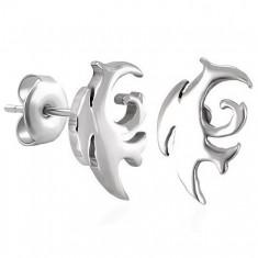 Náušnice, chirurgická ocel, tribal motiv, stříbrný odstín, puzetky SP92.23