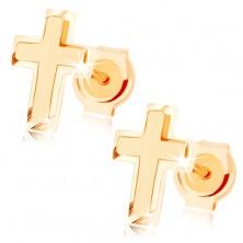 Zlaté náušnice 585 - malý latinský křížek, kombinace lesklého a matného povrchu