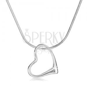 Náhrdelník ze stříbra 925, silnější řetízek - hádek, obrys nesouměrného srdce