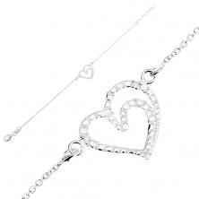 Nastavitelný náramek, stříbro 925, kontura srdce - lesklé gravírované kuličky