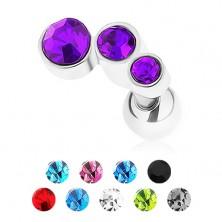 Ocelový piercing do tragu, stříbrná barva, tři barevné zirkony