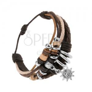 Nastavitelný náramek z kůže a šňůrek, dřevěné a ocelové korálky, sluníčko