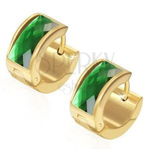 Náušnice z oceli 316L, povrch zlaté barvy, obdélníkový zelený zirkon