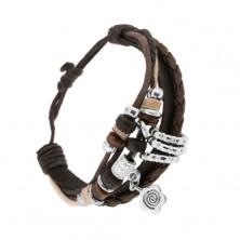 Šňůrkový náramek, kožený pásek, dřevěné a ocelové ozdoby, kvítek
